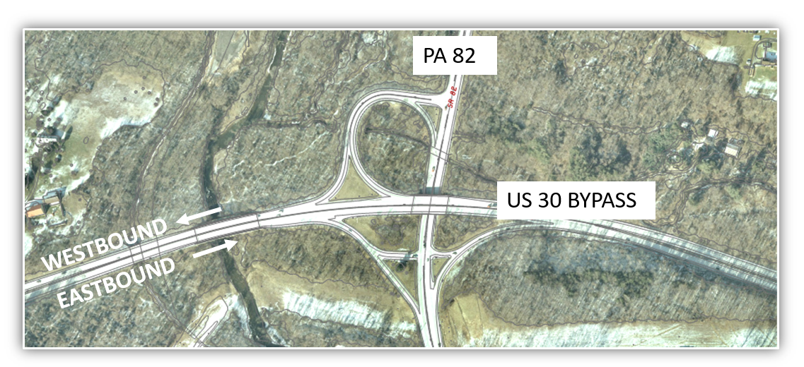 PA Project - Us 30 through pennsylvania map